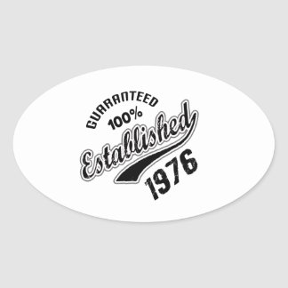 Guaranteed 100% Established 1976 Oval Sticker