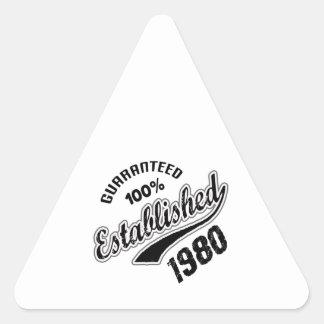 Guaranteed 100% Established 1980 Triangle Sticker