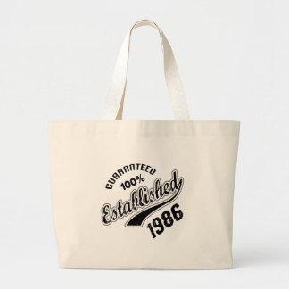 Guaranteed 100% Established 1986 Large Tote Bag