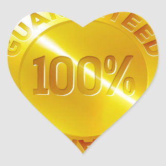 Guaranteed 100 percent Gold Medal Icon Heart Sticker