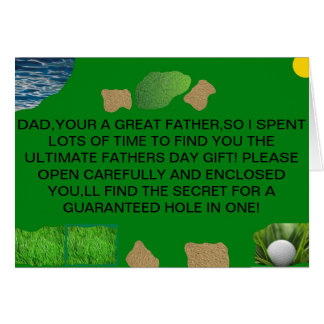 GUARANTEED HOLE IN ONE FATHERS DAY CARD