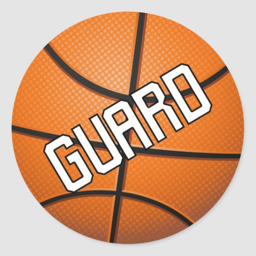 Guard Basketball Round Stickers