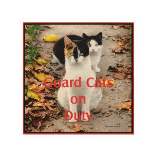 """Guard Cats On Duty"" Wood Wall Art"