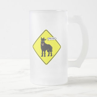 GUARD DOG-75 FROSTED GLASS BEER MUG