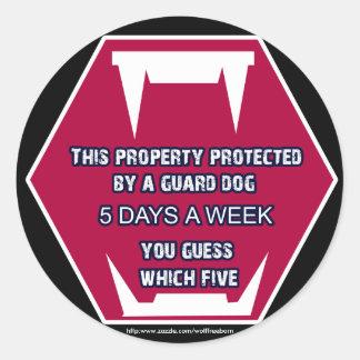 guard dog bite classic round sticker