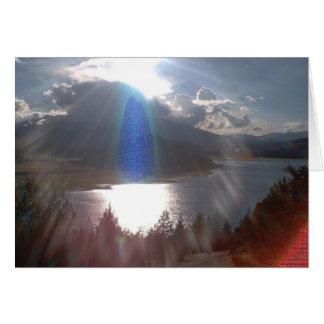 Guarda azul del rayo tarjeta de felicitación