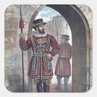 Guarda del terrateniente en la torre de Londres Pegatina Cuadrada
