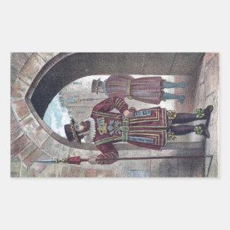 Guarda del terrateniente en la torre de Londres Pegatina Rectangular