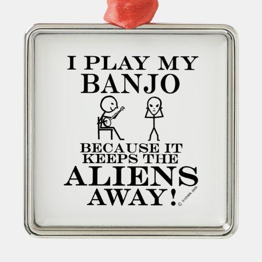 Guarda el banjo ausente de los extranjeros ornamento de navidad