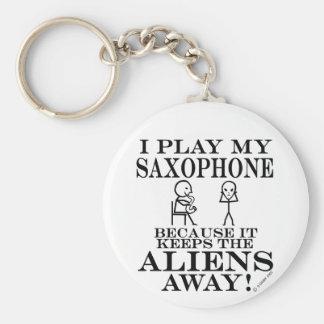 Guarda el saxofón ausente de los extranjeros llavero redondo tipo pin