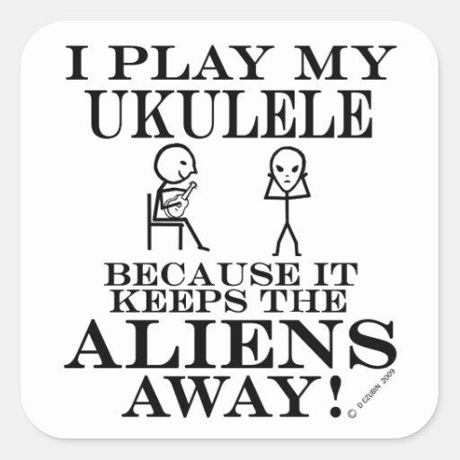 Guarda el Ukulele ausente de los extranjeros Pegatina Cuadradas Personalizadas