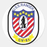 Guardabosques de USS (CV-61) Etiquetas Redondas
