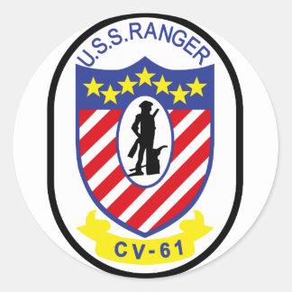 Guardabosques de USS (CV-61) Pegatina Redonda