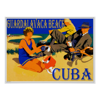 Guardalavaca Vintage Cuba Beach Design Poster