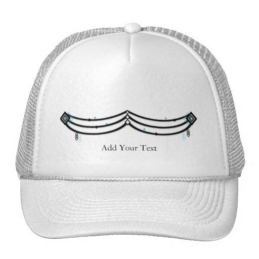 Guardamalleta del diamante en negro y aguamarina gorra