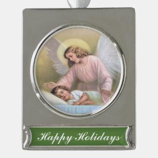 Guardar el ángel de niños, vintage, reproducción adornos navideños plateados