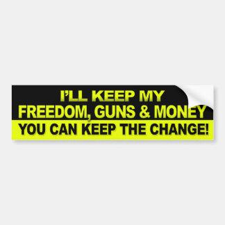 Guardaré mi libertad, armas y dinero - Obama Pegatina De Parachoque