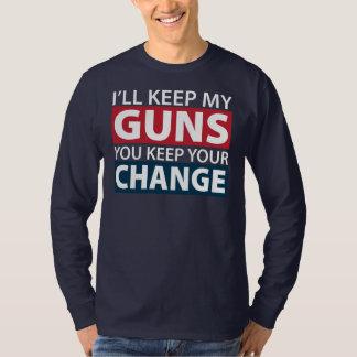 Guardaré mis armas, usted guardo su cambio playeras