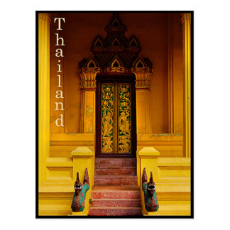 Guardas de la entrada del templo, Tailandia Tarjeta Postal