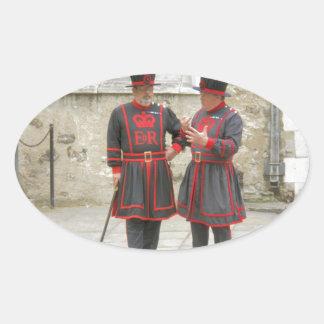 Guardas del terrateniente, o alabarderos de pegatina ovalada