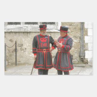 Guardas del terrateniente, o alabarderos de pegatina rectangular