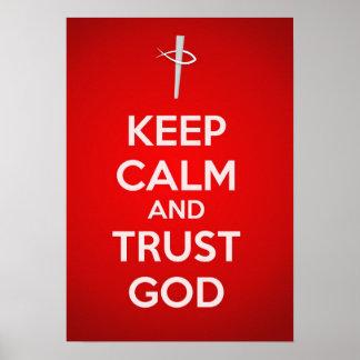 Guarde a dios de la calma y de la confianza póster