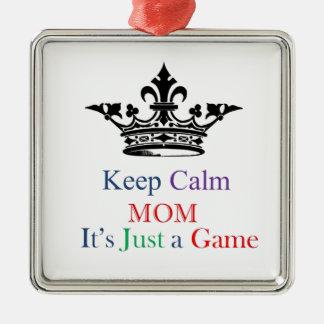 Guarde a la mamá tranquila adorno navideño cuadrado de metal