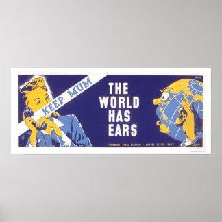 Guarde a la momia - el mundo tiene oídos WPA Póster