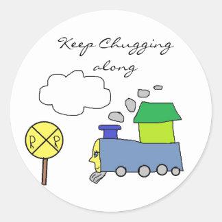 Guarde a los pegatinas chugging del tren pegatina redonda
