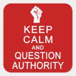 Guarde a los pegatinas de la autoridad de la calma pegatina cuadradas
