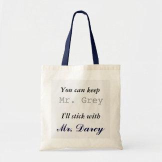 Guarde a Sr. Grey I se pegará con Sr. Darcy Bolsa Tela Barata
