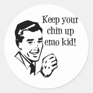 ¡Guarde a su Chin encima del niño de Emo! Pegatina Redonda