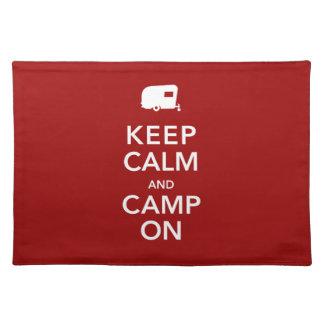 Guarde acampar tranquilo del vintage rv del campo  manteles individuales