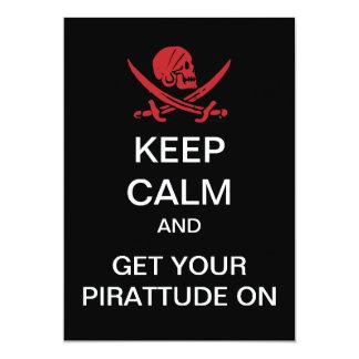 """GUARDE al pirata TRANQUILO de Pirattude que el Invitación 5"""" X 7"""""""