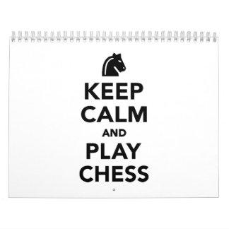 Guarde el ajedrez de la calma y del juego calendario
