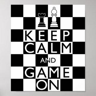 GUARDE el ajedrez de la CALMA Y del JUEGO Póster
