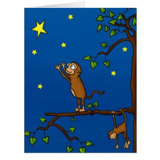 Guarde el alcanzar del mono tarjeta de felicitación grande