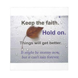 Guarde el asimiento de la fe. Las cosas Bloc De Papel