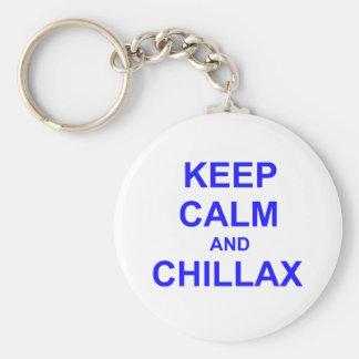Guarde el azul gris negro de la calma y de Chillax Llavero Personalizado