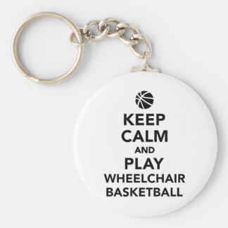 Guarde el baloncesto de silla de ruedas de la llavero redondo tipo pin