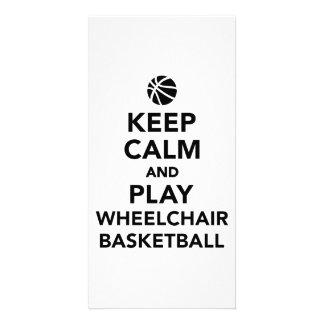 Guarde el baloncesto de silla de ruedas de la tarjeta con foto personalizada