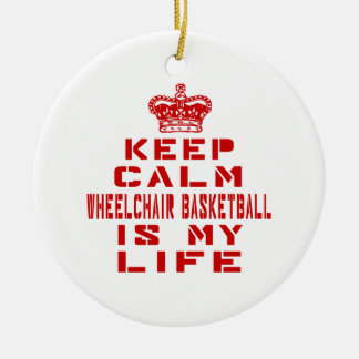 Guarde el baloncesto de silla de ruedas tranquilo adorno redondo de cerámica