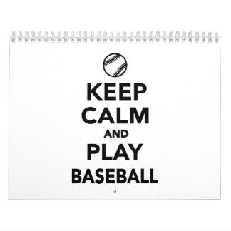Guarde el béisbol de la calma y del juego calendario de pared