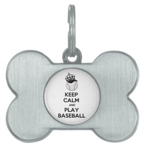 Guarde el béisbol de la calma y del juego placas de mascota