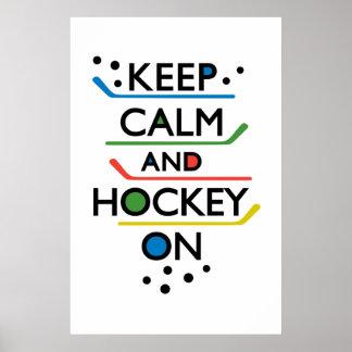 Guarde el blanco de la calma y del hockey encendid póster