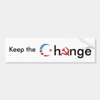 Guarde el cambio etiqueta de parachoque