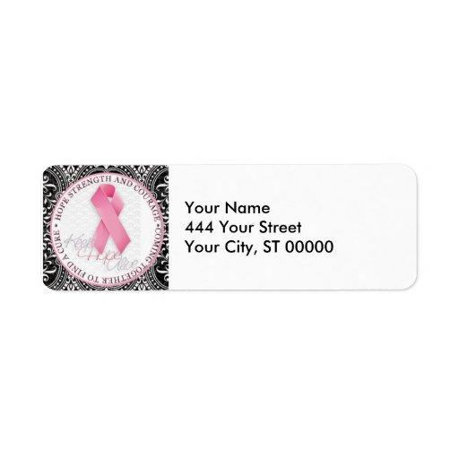 guarde el cáncer de pecho rosado vivo de la cinta  etiquetas de remite