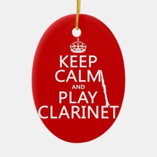 Guarde el Clarinet de la calma y del juego Adorno Ovalado De Cerámica