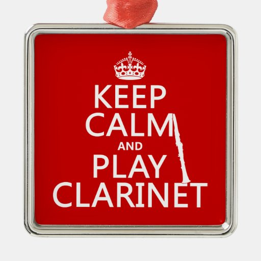 Guarde el Clarinet de la calma y del juego Adorno Cuadrado Plateado