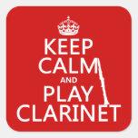 Guarde el Clarinet de la calma y del juego Calcomanías Cuadradass